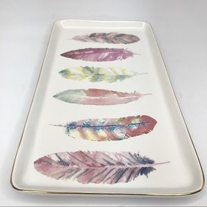 Ceramic Tray with Colour Feathers